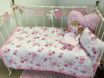 Shabby Chic Fleur Girls Baby Cot Quilt Vintage Pink Florals Linens n Things