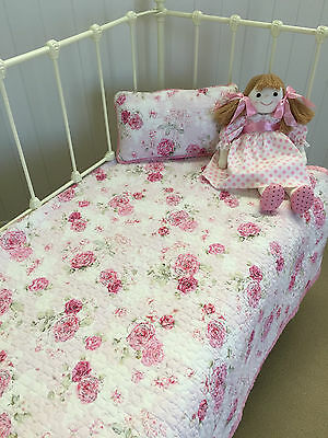 2 pc Shabby Chic Fleur Girls Baby Cot Quilt & Cushion Florals Linens n Things
