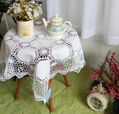 Vintage Hand Crochet Insertion Embroidery White Cotton Square Table Cloth A