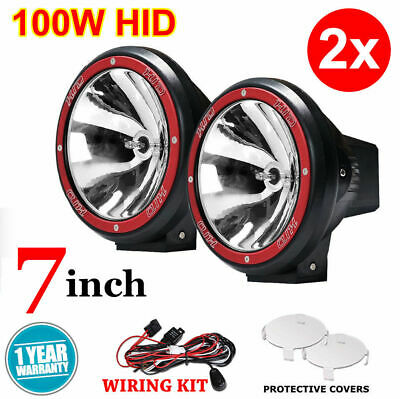 """2x 7INCH 7"""" 100W DRIVING LIGHTS HID XENON 12V SPOT OFF ROAD UTE WORK RED"""