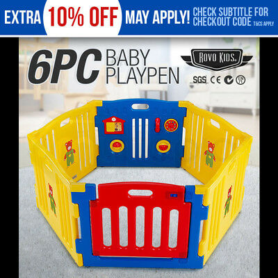 NEW 6pc Baby Playpen -Blue Toddler Safety Monitor Gate Fun Yellow Plastic Child