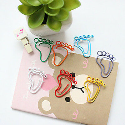 10Pcs Office Supplies Stationary Footprint Colorful Paper Clips( Random Color)