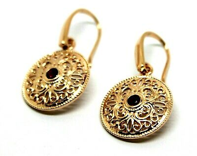 Genuine Heavy 9Ct Solid Rose Gold Antique Red Ruby Filigree Drop Earrings