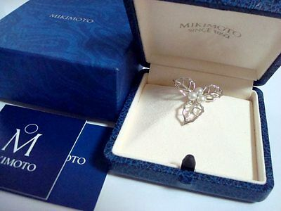 "New Authentic  ""MIKIMOTO""  Akoya pearl Pin Brooch"