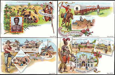 1897 Transvaal Berlin Exhibition set of four Colourful Postcards superb unused