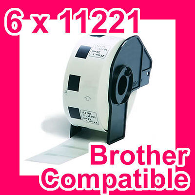 6 Rolls of Compatible Brother DK-11221 23mm Square Label