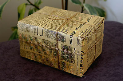 Retro Kraft Paper Gift Double Wrapping Paper English Newspaper With Twine String