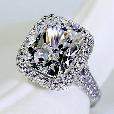 14KT White Gold GF 10ct TOPAZ  Wedding ENGAGEMENT RING Swarovski