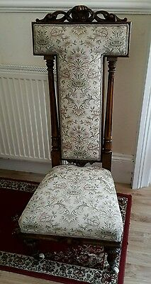 Beautiful carved antique prie dieu, prayer chair on castors