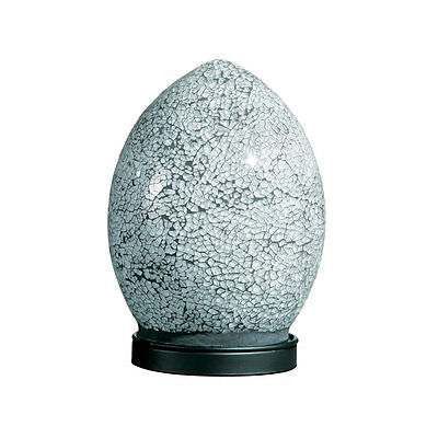 Mosaic White Crackle Glass Small Egg Bedside Table Lamp Black Base