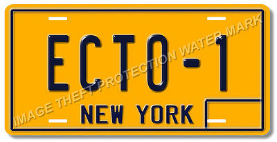 Ghostbusters 59 Cadillac Hearse ECTO-1 Prop Replica New York License Plate Tag