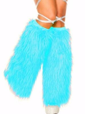 Turquoise Standard Solid Fluffies Legwarmers