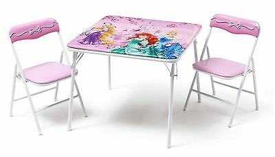 Disney Princess Childrens Metal Table And Two Chairs Set Kids Bedroom Playroom