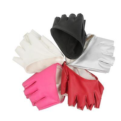 Women Fashion PU Leather 1 Pair Half Finger Pole Dance Gloves 5 color