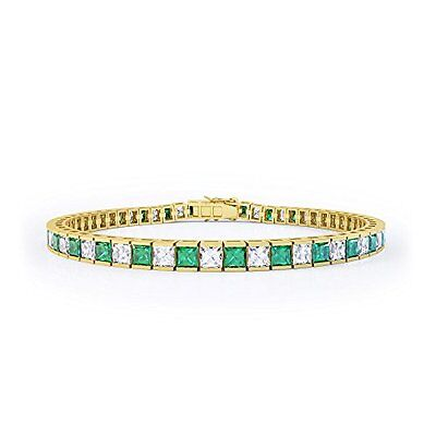 Princess Emerald and Diamond Silver Tennis Bracelet 7IN GOLD