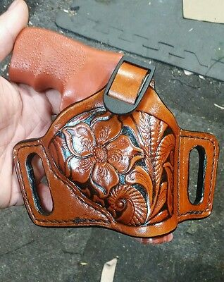 HANDMADE LEATHER MINIMAL Holster for Ruger LCR in antiqued Brown Floral