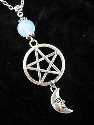 Silver Celtic Pentacle Moon Necklace Gothic Wicca Pagan Pendant Fantasy Crescent