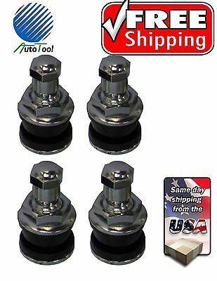 "4 - Chrome Metal Bolt In Tire Valve Stems Vh-8 Tr416 .453 & .625 Holes 1"" Long"