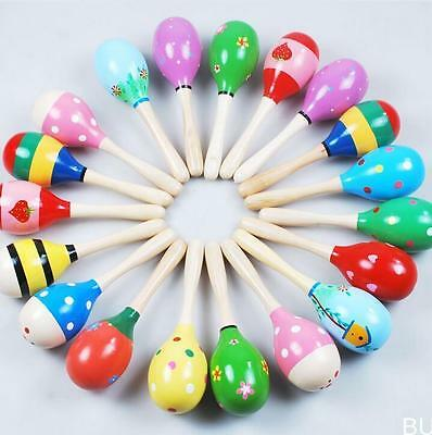 HOAU 1PC Colorful Wooden Maraca Rattles Kids Party Child Baby Beach Shaker Toy