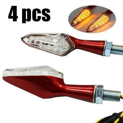 4x RED Motorcycle Turn Signal LED Blinker Amber Light Spike Indicator Lamp