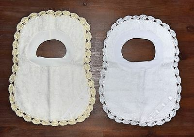 Christening Baptism Baby Pull Over Bibs Terry Towel - White Ivory