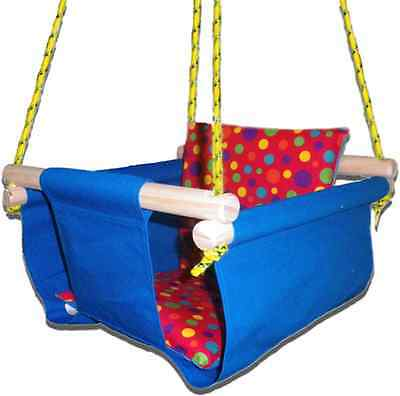New -  Baby Spring Swing - Blue Canvas - w Red Multi Spot Cushion