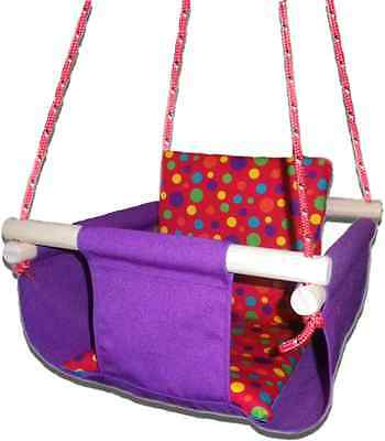 New -  Baby Spring Swing - Purple Canvas - w Red Multi Spot Cushion