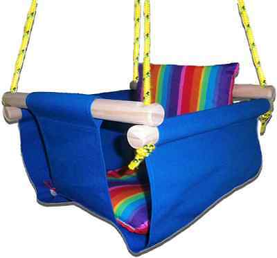 New -  Baby Spring Swing - Blue Canvas - w Rainbow Stripe Cushion