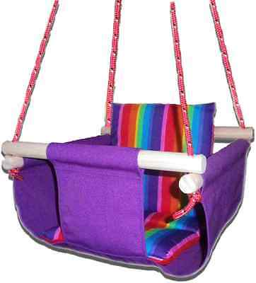 New -  Baby Spring Swing - Purple Canvas - w Rainbow Stripe Cushion