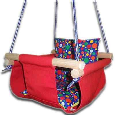 New -  Baby Spring Swing - Red Canvas - w Blue Multi Spot Cushion