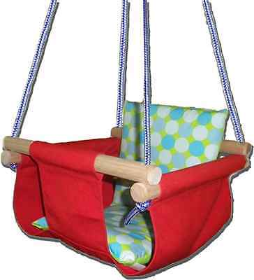New -  Baby Spring Swing - Red Canvas - w Aqua Retro Cushion
