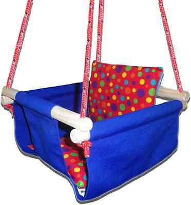 New -  Baby Spring Swing - Royal Blue Canvas - w Red Multi Spot Cushion