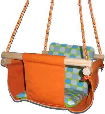 New -  Baby Spring Swing - Orange Canvas - w Aqua Retro Cushion
