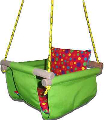 New -  Baby Spring Swing - Lime Green Canvas - w Red Multi Spot Cushion