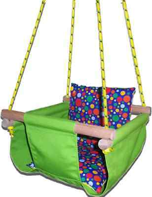 New -  Baby Spring Swing - Lime Green Canvas - w Blue Multi Spot Cushion