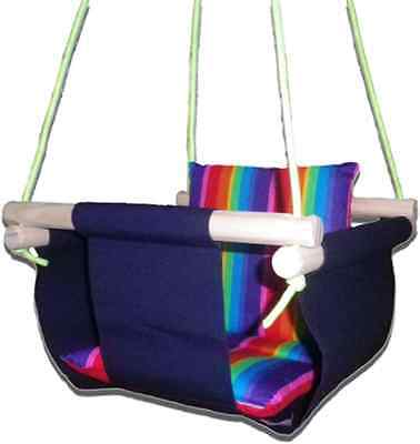 New -  Baby Spring Swing - Navy Canvas - w Rainbow Stripe Cushion