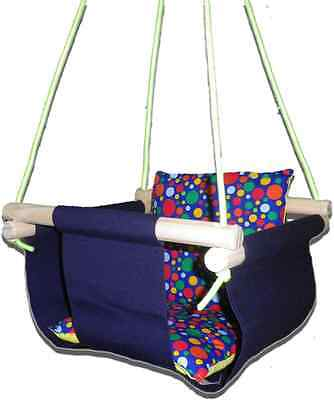New -  Baby Spring Swing - Navy Canvas - w Blue Multi Spot Cushion