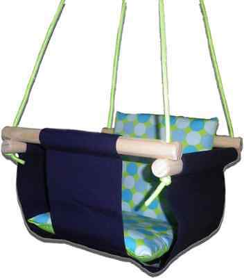 New -  Baby Spring Swing - Navy Canvas - w Aqua Retro Cushion