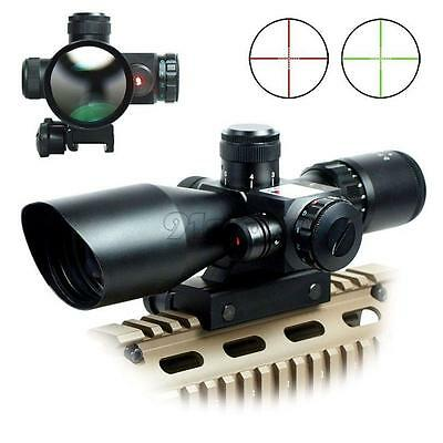 2.5-10x40 Tactical Rifle Scope Mil-dot Red Green illuminated w/ Laser Mount SR1G