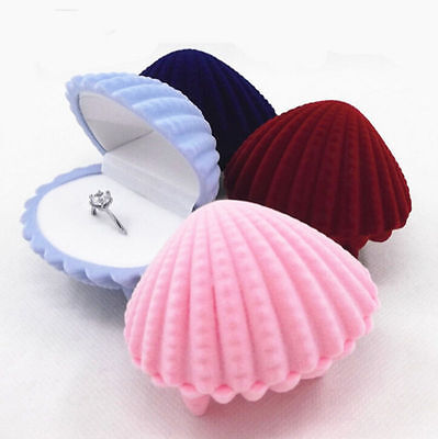 Lovely Case Display Box Shell Gift Necklace Ring Velvet Jewelry Earrings Shape