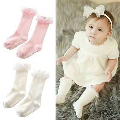 Newborn Baby Kid Girl Sweet Soft Cotton Lace Socks Knee High Tight Warm Stocking