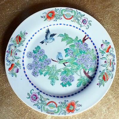 Beautiful Hand painted plate made in Macau Birds and flowers  Collectable plate