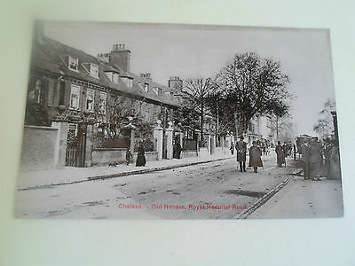 Vintage Postcard OLD HOUSES, CHELSEA ROYAL HOSPITAL RD (Charles Martin, London)