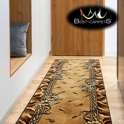 Modern Hall Carpet Runner BCF TRIO oldgold Stairs Width 60-200cm extra long RUGS