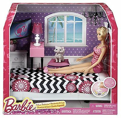 NEW Playset Barbie Doll and Bedroom Furniture Set  Pretend Play Dollhouse