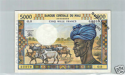 MALI SPECIMEN 5000 FRANCS ND (1972-1984) PICK 14eS