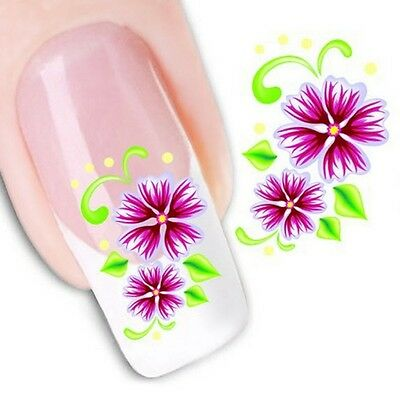 Nail Art Sticker Water Decals Transfer Stickers Purple Flowers Floral (XF1026)