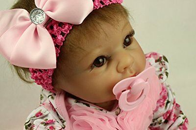 SanyDoll Reborn Baby Doll Soft Silicone 22inch 55cm Magnetic Lovely Lif...