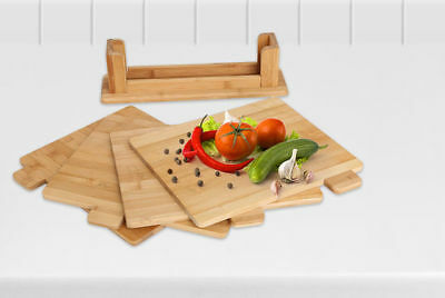 4pc Bamboo Wooden Chopping Board Set Symbol Coded Cutting Slicing Board Stand