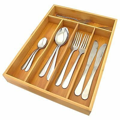 5 Compartment Bamboo Wooden Cutlery Storage Tray New